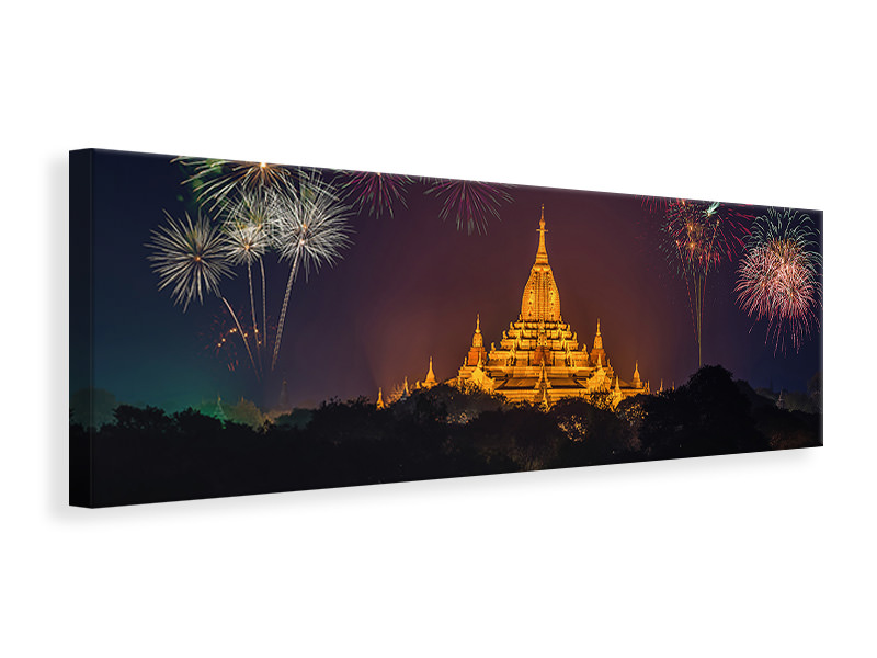 Panoramic Canvas Print Fireworks at the temple