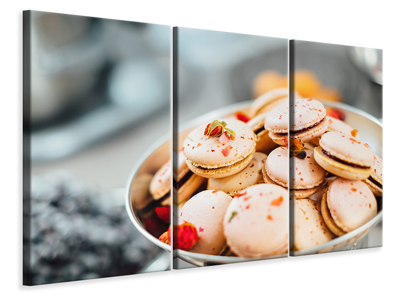 3 Piece Canvas Print A bowl of macarons