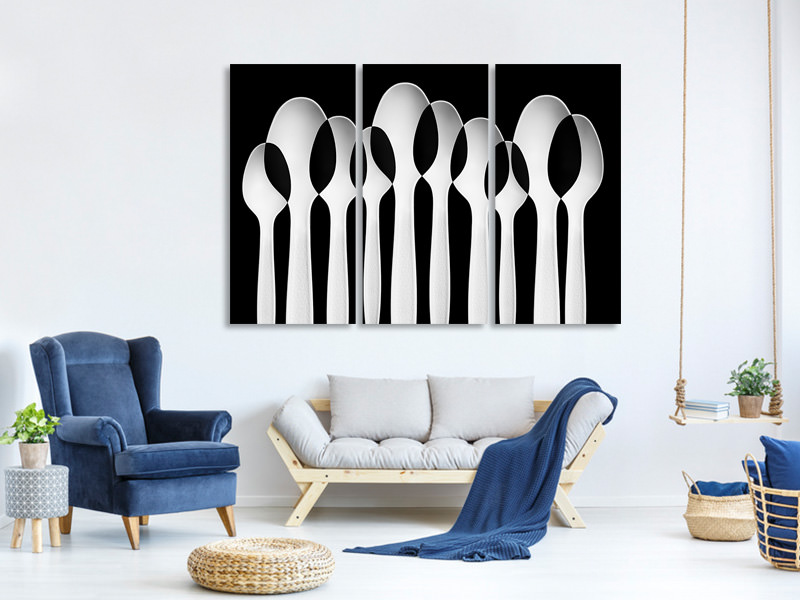 Stampa su tela 3 pezzi Spoons Abstract: Forest