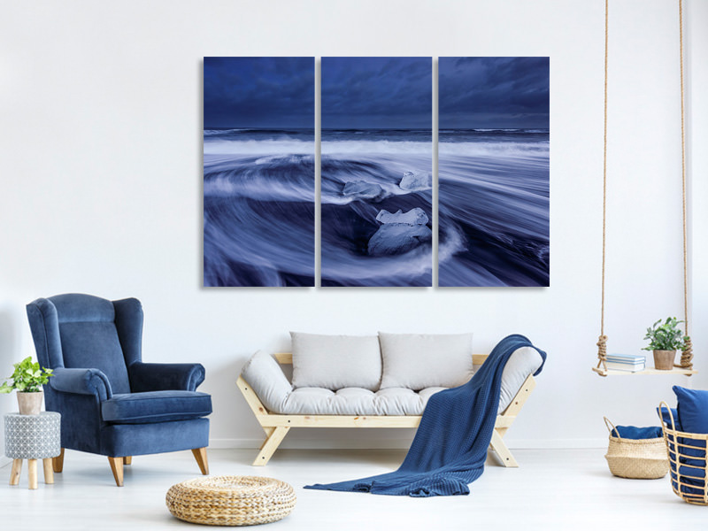 3 Piece Canvas Print Ice Skull