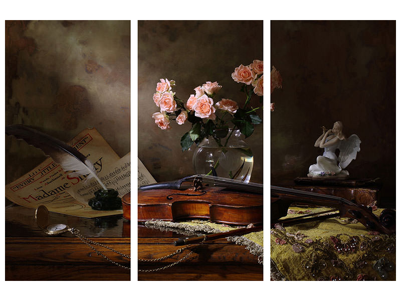 3 Piece Canvas Print Still Life With Violin And Roses