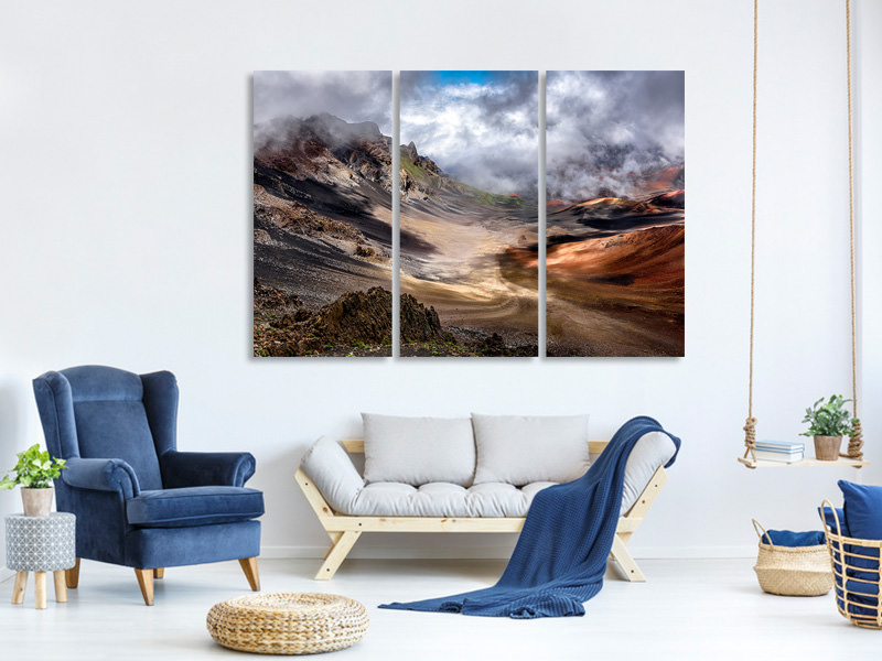 3 Piece Canvas Print Craters Edge
