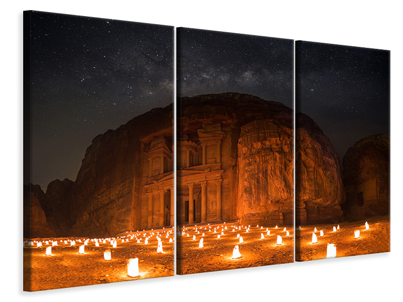 3 Piece Canvas Print Petra By Night