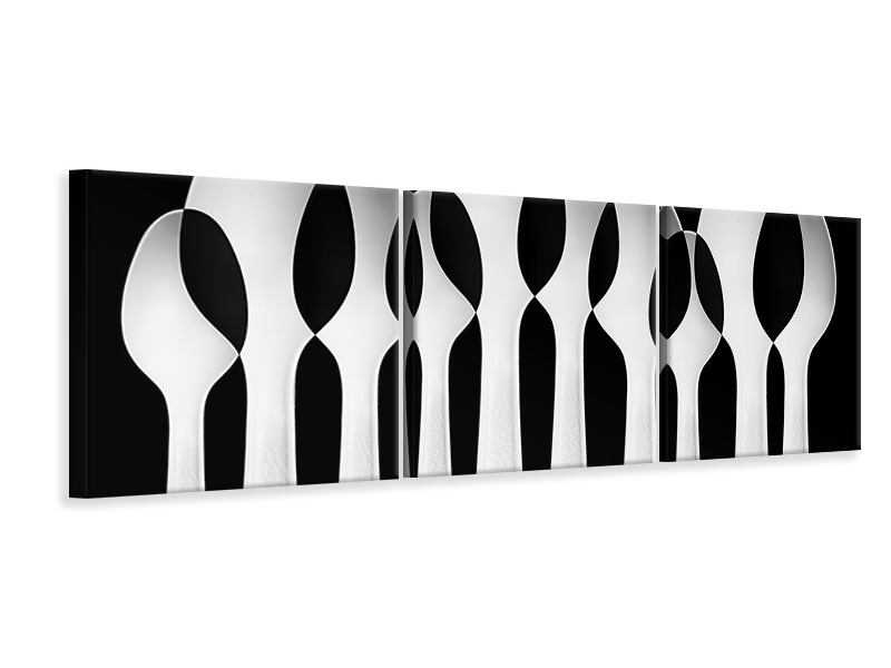 Tableau sur toile en 3 parties panoramique Spoons Abstract: Forest