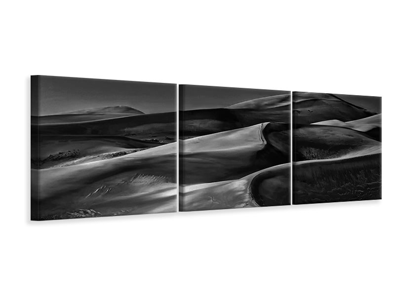Panoramic 3 Piece Canvas Print The Night Walked Down The Sky