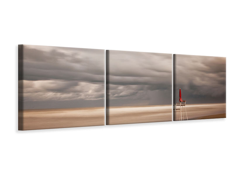 Panoramic 3 Piece Canvas Print Red