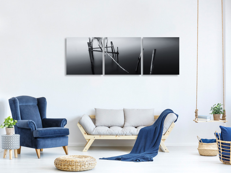 Tableau sur toile en 3 parties panoramique Carrasqueira In Black And White