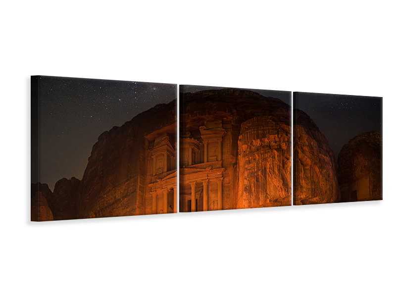 Tableau sur toile en 3 parties panoramique Petra By Night