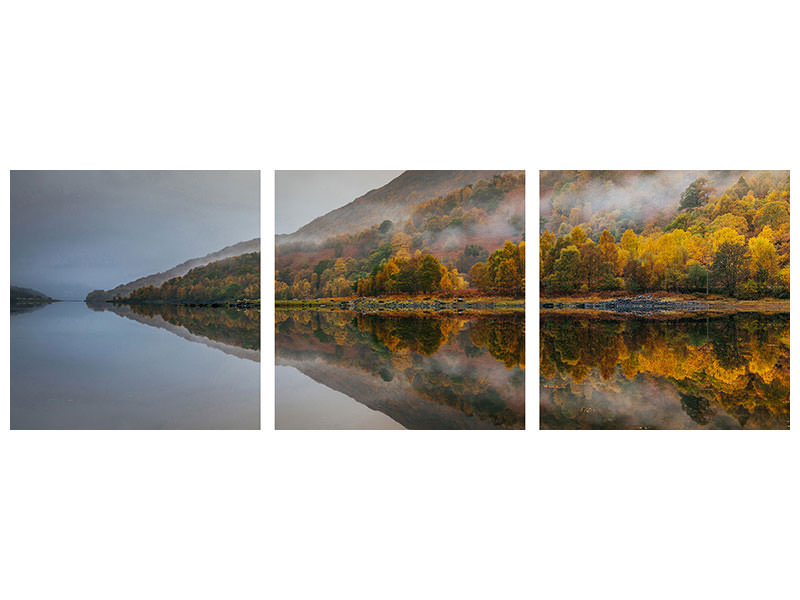 Panoramic 3 Piece Canvas Print Misty Loch