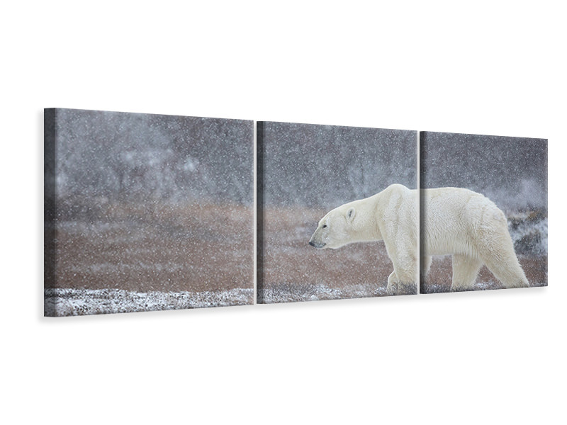 Panoramic 3 Piece Canvas Print Let It Snow A