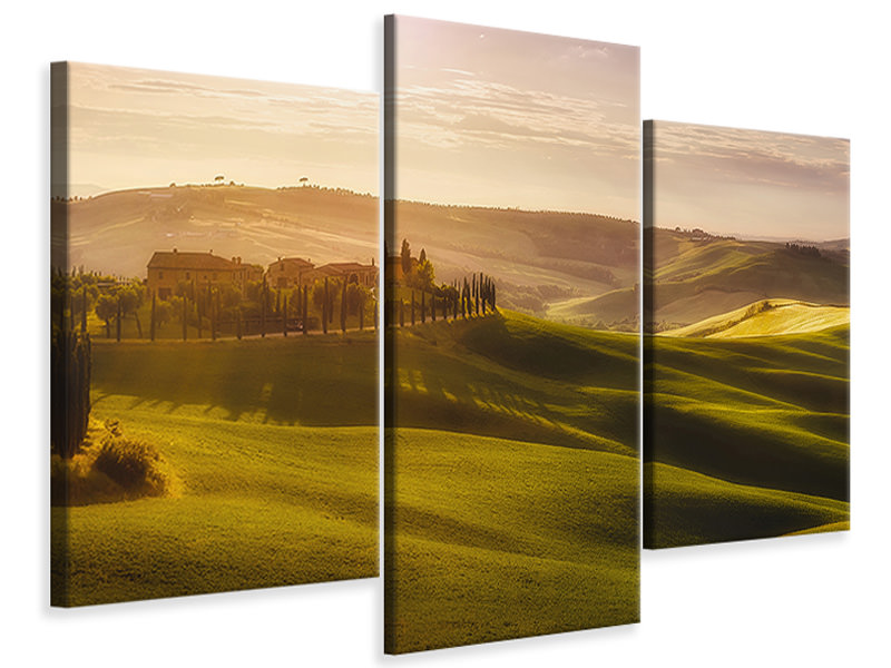 Modern 3 Piece Canvas Print Waves Of Light