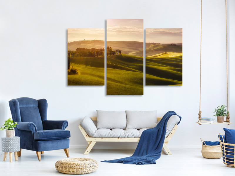 Tableau sur toile en 3 parties moderne Waves Of Light