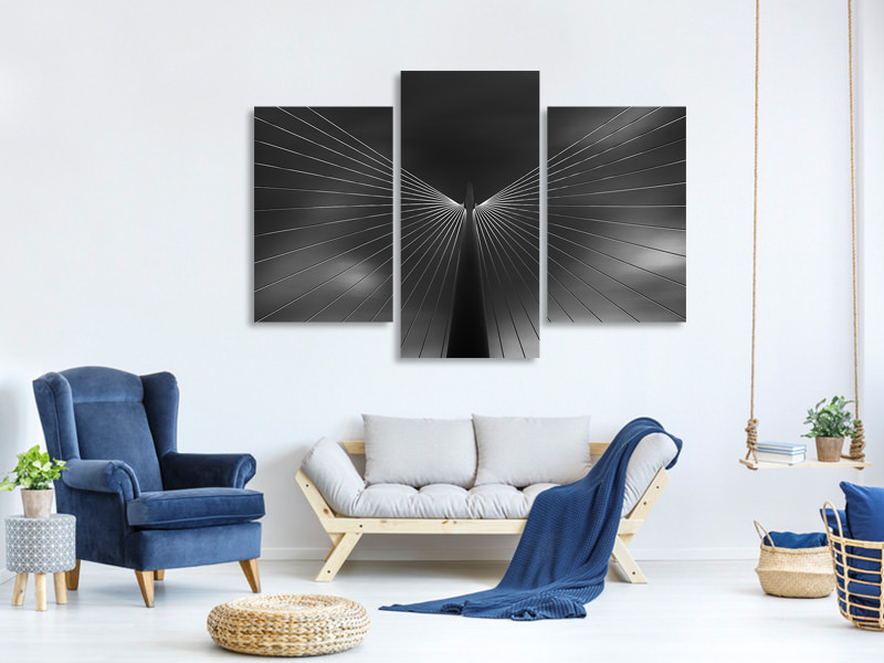 Tableau sur toile en 3 parties moderne Angel In Black And White