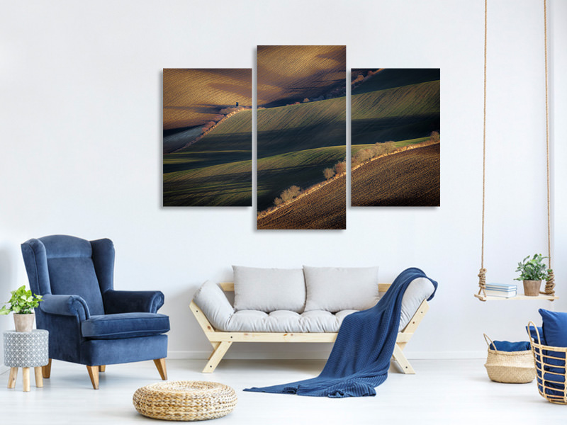 Tableau sur toile en 3 parties moderne Winter Long Shadows