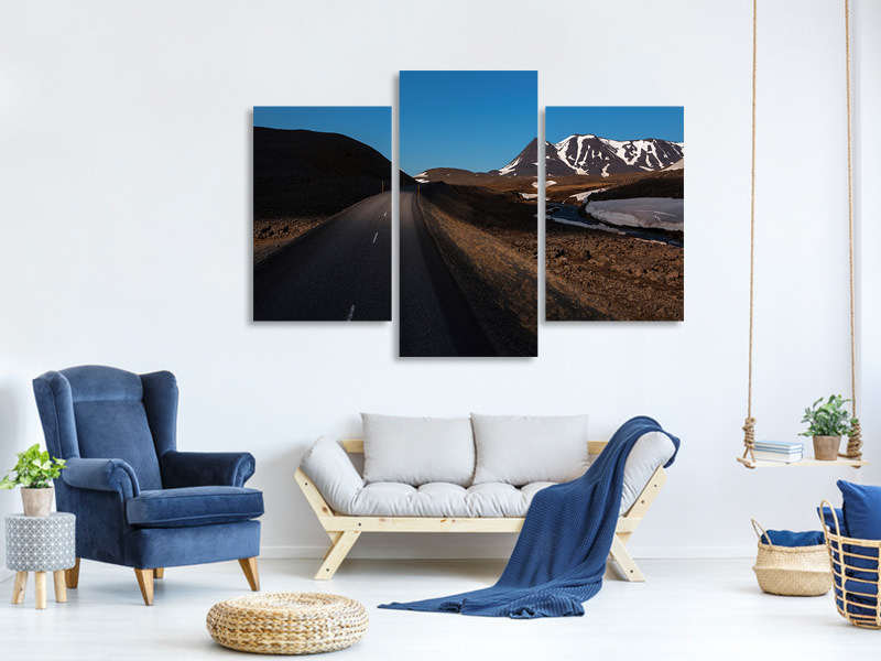 Modern 3 Piece Canvas Print Solar Road