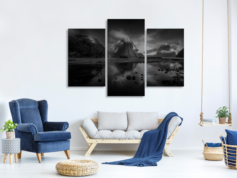 Modern 3 Piece Canvas Print Milford Sound