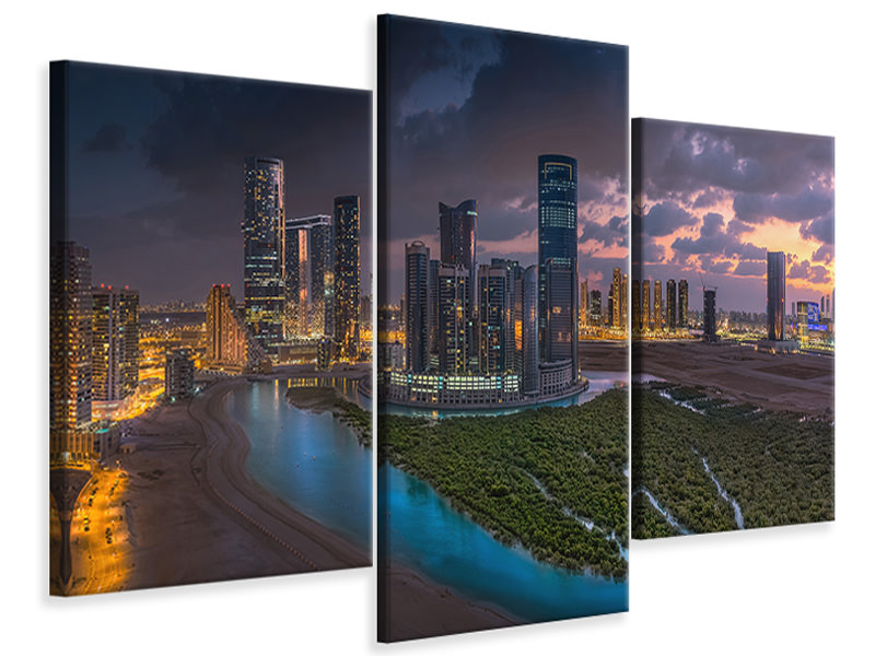 Modern 3 Piece Canvas Print Al Reem Mangroves