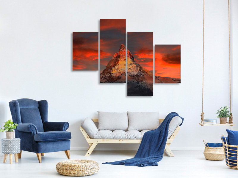Modern 4 Piece Canvas Print Mountains of Switzerland at sunset