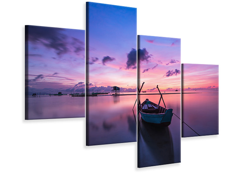 Modern 4 Piece Canvas Print Impressive sunset at the sea