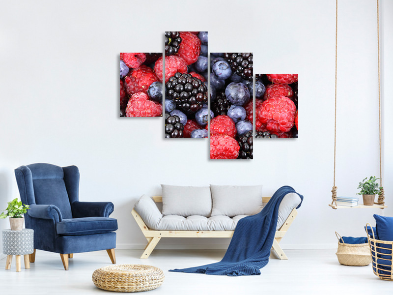 Modern 4 Piece Canvas Print Fruity berries