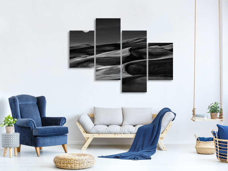 Modern 4 Piece Canvas Print The Night Walked Down The Sky