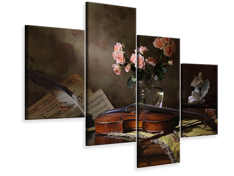 Modern 4 Piece Canvas Print Still Life With Violin And Roses