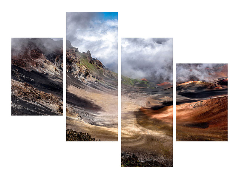 Modern 4 Piece Canvas Print Craters Edge