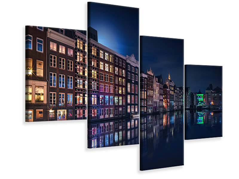 Stampa su tela 4 pezzi moderno Amsterdam Windows Colors