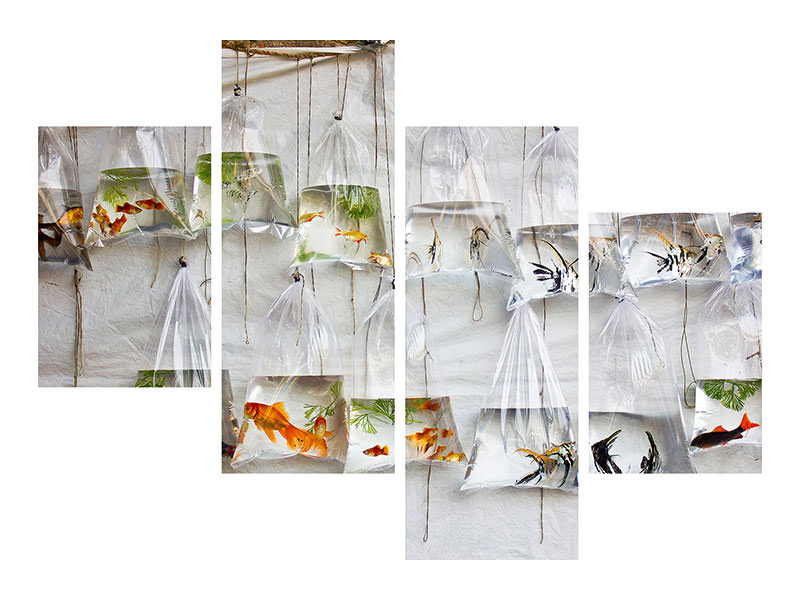 Tableau sur Toile en 4 parties moderne The Wall Of Fish