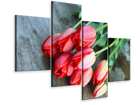 Modern 4 Piece Canvas Print The Red Tulip Bouquet
