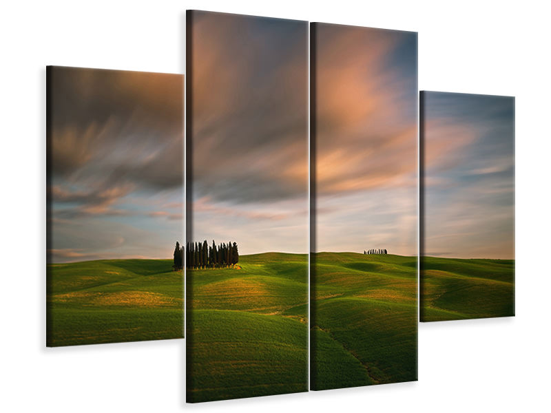 4 Piece Canvas Print Fields