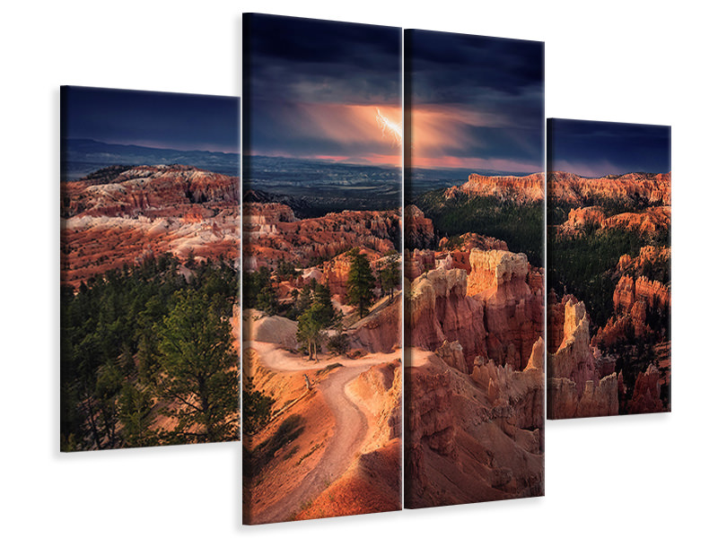 Stampa su tela 4 pezzi Lightning Over Bryce Canyon