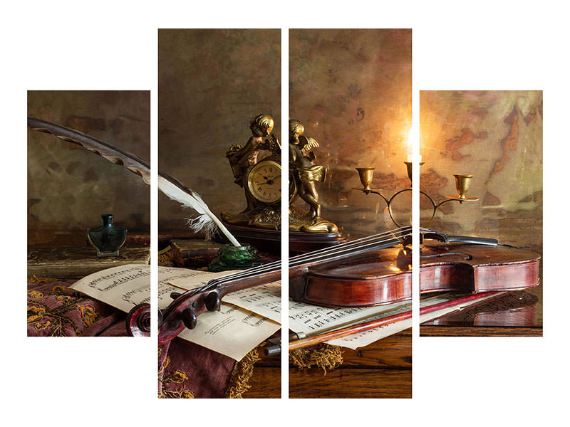 Stampa su tela 4 pezzi Still Life With Violin And Clock