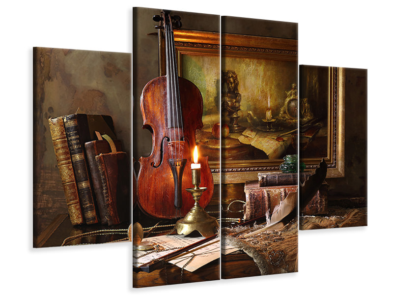 Leinwandbild 4-teilig Still Life With Violin And Painting II