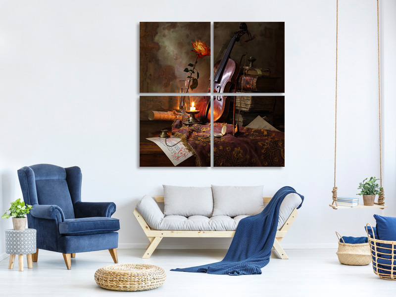 4 Piece Canvas Print Still Life With Violin And Rose