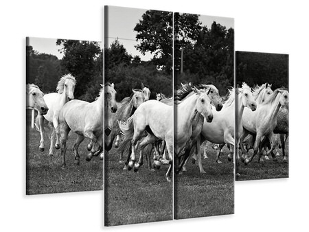 4 Piece Canvas Print The Mustang Herd