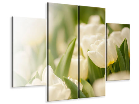 4 Piece Canvas Print Tulips Perspective