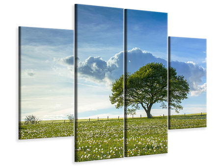 4 Piece Canvas Print Spring Tree