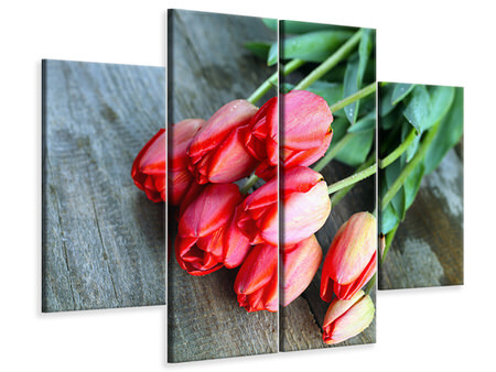 4 Piece Canvas Print The Red Tulip Bouquet