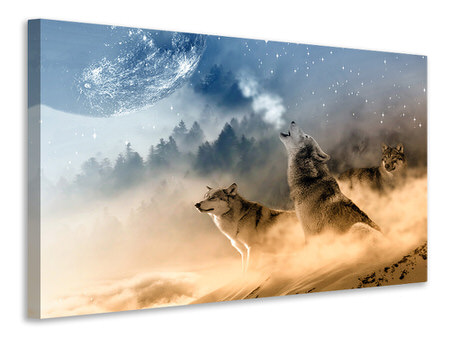 Canvas print The world of wolves
