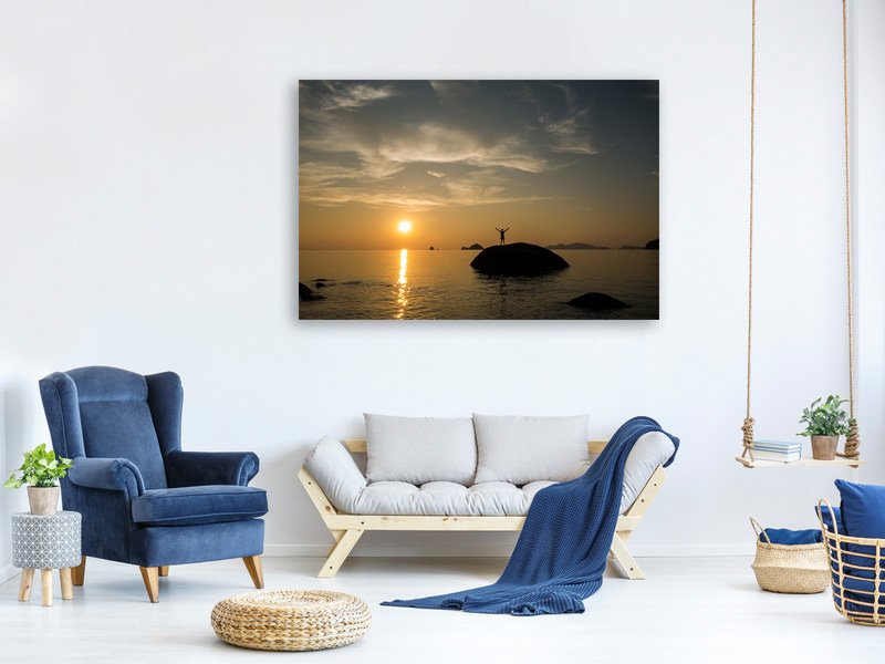 Canvas print Love the sunset by the sea