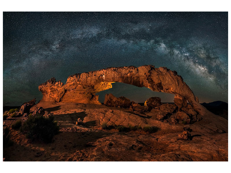 Stampa su tela Milky Way Over The Sunset Arch