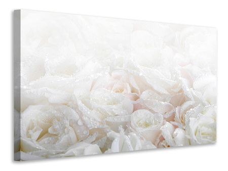 Canvas print White Roses In The Morning Dew