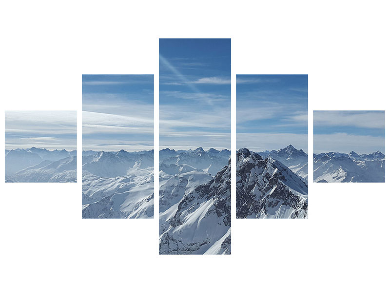 5 Piece Canvas Print Over the peaks