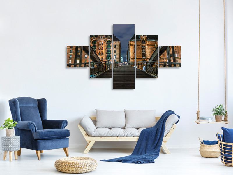 5 Piece Canvas Print On the long bridge