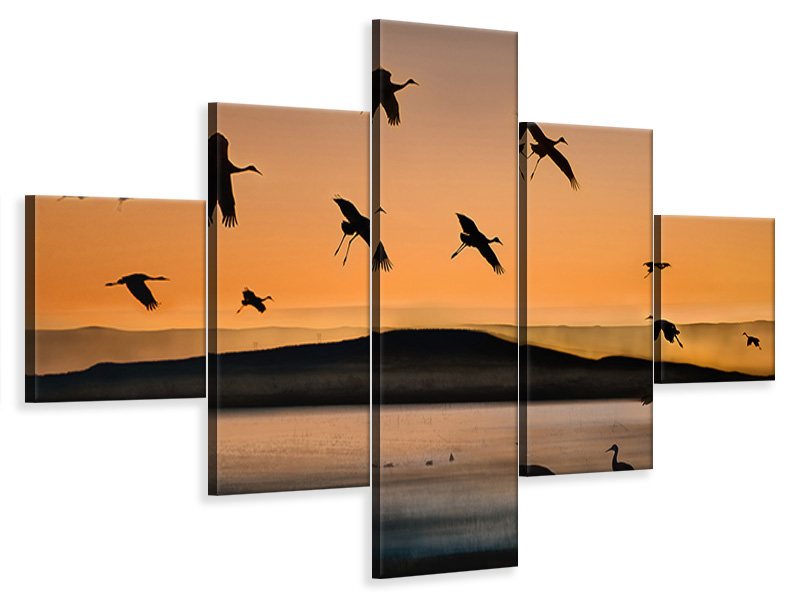 Tableau sur Toile en 5 parties Fly-In At Sunset