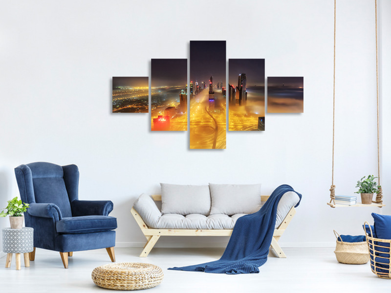 5 Piece Canvas Print Fog Invasion
