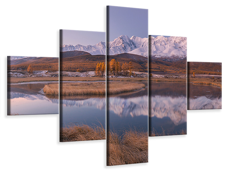 5 Piece Canvas Print Mirror For Mountains 2
