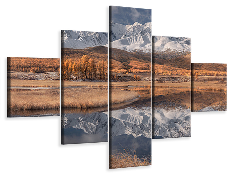 5 Piece Canvas Print Mirror For Mountains 3