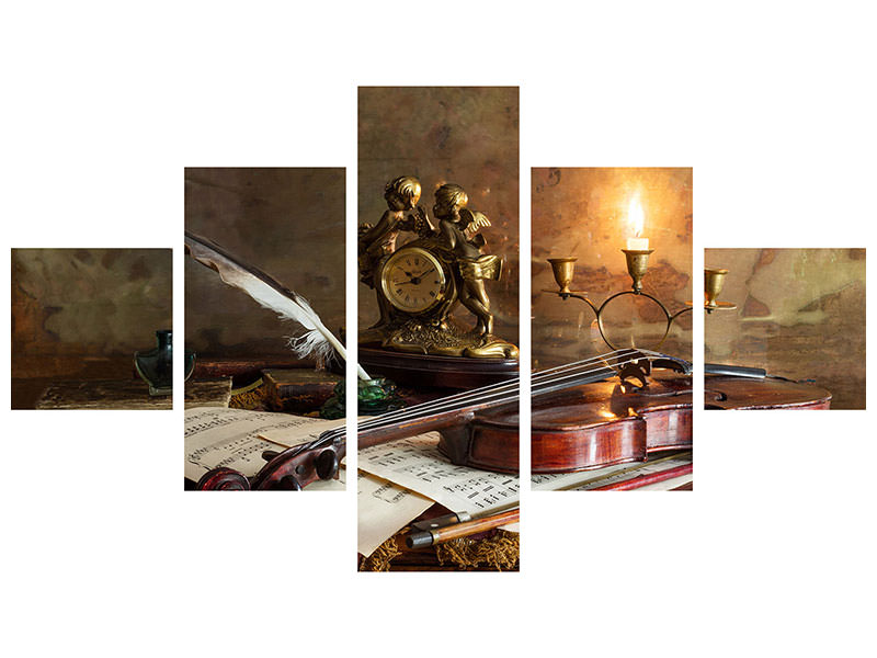 Stampa su tela 5 pezzi Still Life With Violin And Clock